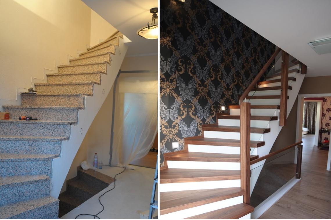 Treppenbild voher nacher